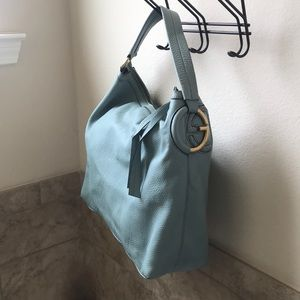 Authentic Gucci Twill Light Blue Hobo Leather